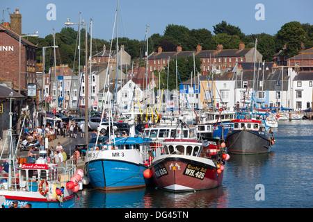 Angelboote/Fischerboote in den alten Hafen, Weymouth, Dorset, England, Vereinigtes Königreich, Europa - Stockfoto