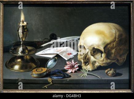 Vanitas-Stillleben. Pieter Claesz.1625.The Niederlande. - Stockfoto
