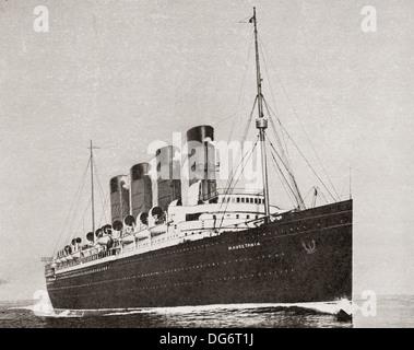 RMS Mauretania, 1906 Ozeandampfer. Von der Romantik des Schiffes Kaufmann veröffentlicht 1931. - Stockfoto