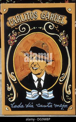 Argentinische Plakat Carlitos Gardel 1920-1930 Sänger. Tänzerin Frauenschwarm - Stockfoto