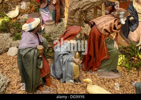 Three Wise Men, Krippe - Stockfoto