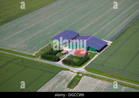 sonnenkollektoren auf dem dach eines landwirtschaftlichen geb udes deutschland stockfoto bild. Black Bedroom Furniture Sets. Home Design Ideas