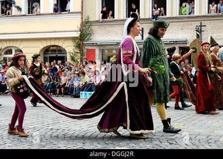 Landshuter Hochzeit 2009, einem großen mittelalterlichen Festzug, Adelsfamilie, die Teilnahme an der traditionellen - Stockfoto