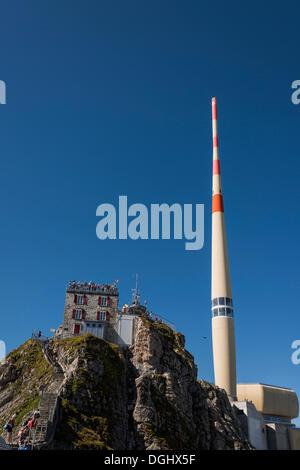 Gipfel-Haus und Antenne am Berg Säntis, erkundet, Säntis, Kanton Appenzell Innerrhoden, Schweiz - Stockfoto