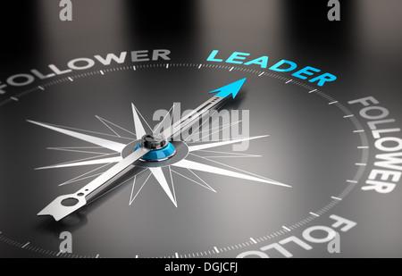 Wort Führer mit einer Kompassnadel. Konzeptionelle 3d-render Bild mit Tiefenschärfe blur Effekt. - Stockfoto