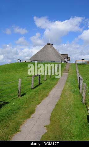Reetgedeckten Haus, Hamburger Hallig, Nordfriesland, Schleswig-Holstein, PublicGround - Stockfoto