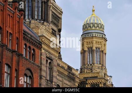 Turm, neue Synagoge, Oranienburger Straße, Spandauer Vorstadt, Mitte, Berlin - Stockfoto