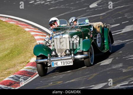 MG TD Oldtimer, Rennen Nürburgring Classic 2008, Nordschleife, Nürburgring Rennstrecke, Rheinland-Pfalz - Stockfoto