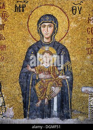 Mosaik, Jungfrau Maria, Muttergottes mit dem Jesuskind, Hagia Sophia, Ayasofya, Istanbul, Türkei