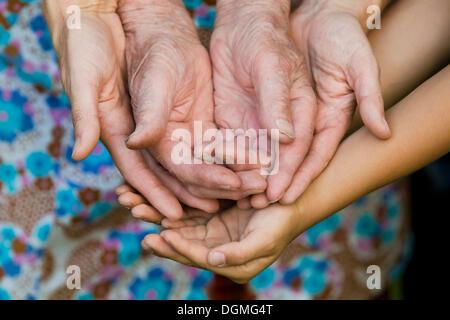 Händen der Erwachsener, eine ältere Frau und ein Kind - Stockfoto