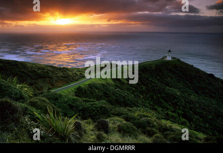 Leuchtturm am Cape Reinga, Northland, Aupouri-Halbinsel, Nordinsel, Neuseeland - Stockfoto