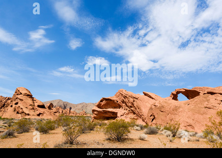 Arch Rock, Valley of Fire State Park, nördlich von Las Vegas, Nevada, USA - Stockfoto