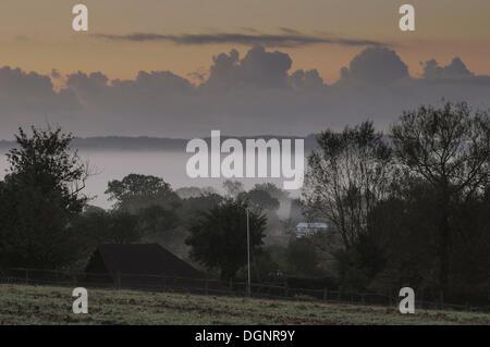 East Sussex, UK. 24. Oktober 2013. Am frühen Morgennebel liegt im Rother Tal zwischen Stonegate und Burwash. Ein - Stockfoto
