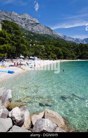 Strand von Brela, Makarska Riviera, Adria, Dalmatien, Kroatien, Europa - Stockfoto
