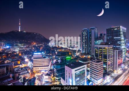 Seoul, Südkorea mit Namsan Berg. - Stockfoto