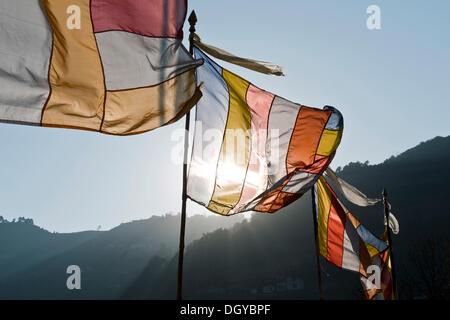 Gebetsfahnen, Tawang Khinmey Nyingma Kloster Tawang, Arunachal Pradesh, Indien, Asien - Stockfoto