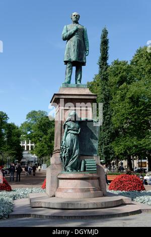 Eteläesplanadi Esplanade, Johan Ludvig runeberg Denkmal, Helsinki, Finnland - Stockfoto