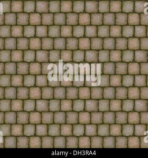 Fliesen Naturstein Gehweg Textur mit Moos zwischen den Steinen. - Stockfoto