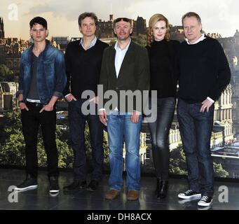"Jeremy Irvine, Colin Firth, Jonathan Teplitzky, Nicole Kidman ""Eisenbahners"" Photocall in Edinburgh Edinburgh, Schottland - Stockfoto"