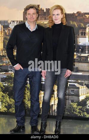 """Nicole Kidman und Colin Firth """"Eisenbahners"""" Photocall in Edinburgh Edinburgh, Schottland - 27.04.12 - Stockfoto"""