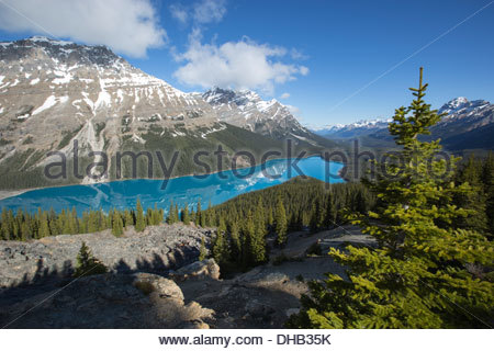 Peyto Lake angesehen von Bow Summit, Icefields Parkway, Banff Nationalpark, Kanada - Stockfoto