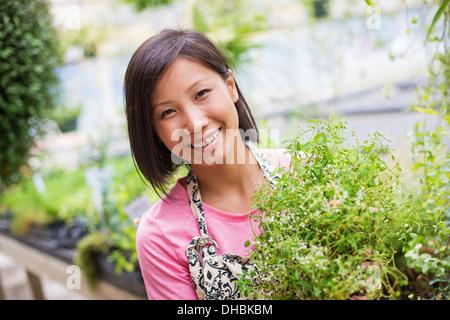 Arbeiten auf einem Bio-Bauernhof. Eine Frau, die tendenziell Jungpflanzen in einem Glashaus. - Stockfoto