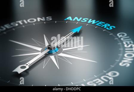 Realistische konzeptionelle 3D-Render Bild mit Schärfentiefe-Unschärfeeffekt. Kompass mit der Nadel zeigt die Wortantwort. - Stockfoto