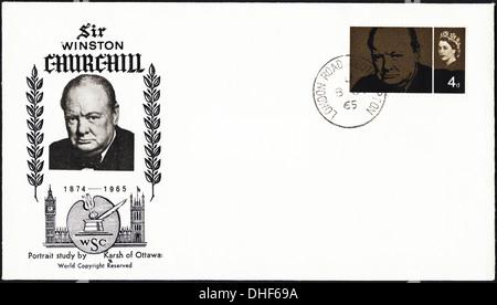 Commemorative Briefmarke Ersttagsbrief für Sir Winston Churchill datiert 1965 post markiert London - Stockfoto