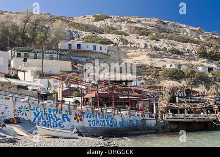 Heute ist Leben - morgen nie kommt, eine berühmte Slogan, geschrieben auf einer Wand in Matala, Region Heraklion, - Stockfoto