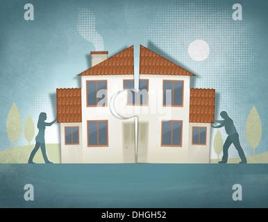 Anschaulichen Bild des Paares drängen Haus Stücke zusammen repräsentieren nach Hause machen Stockfoto