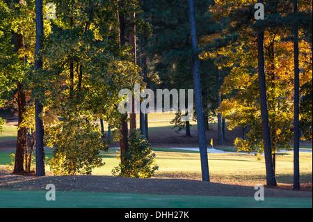 Sonnenuntergang auf den Greens im Atlanta Evergreen Marriott Resort Stone Mountain Golf Club in der Nähe von Atlanta, - Stockfoto