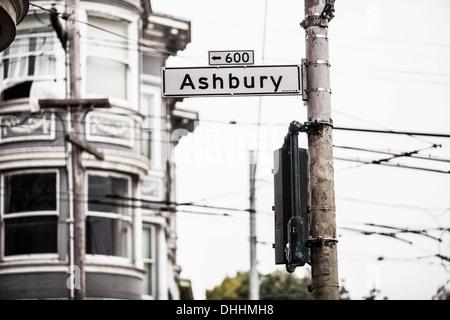 Ashbury Zeichen, San Francisco, Kalifornien, USA - Stockfoto