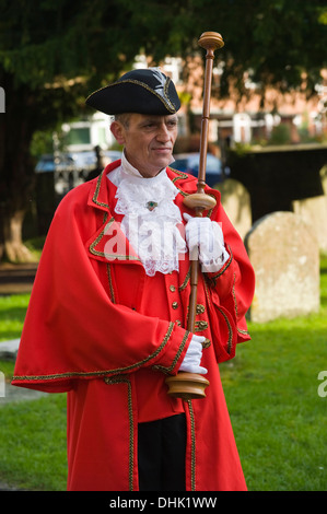 Stadtausrufer Erinnerung sonntags parade in Hay-on-Wye Powys Wales UK - Stockfoto