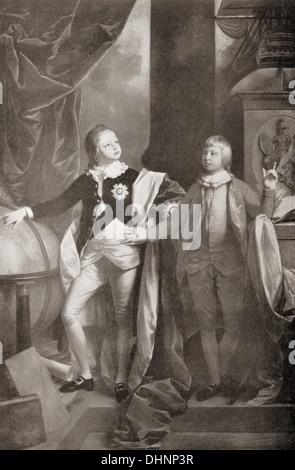 William, Duke of Clarence, später König William IV, und der Prinz Edward, Herzog von Kent und Strathearn, - Stockfoto
