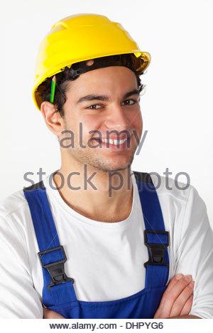 Bau Arbeiter Helm Schutzhelm Porträt junge - Stockfoto