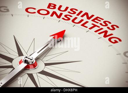 Realistische Konzept der strategischen Business. Kompass Nadel nach der roten Wort Business Consulting über ein - Stockfoto