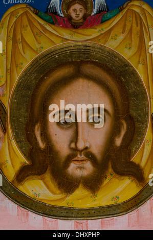 Ikone von Jesus aus Etara Architectural-ethnographischen Komplex Freilichtmuseum orthodoxe Kirche Bulgarien Bulgarien. - Stockfoto
