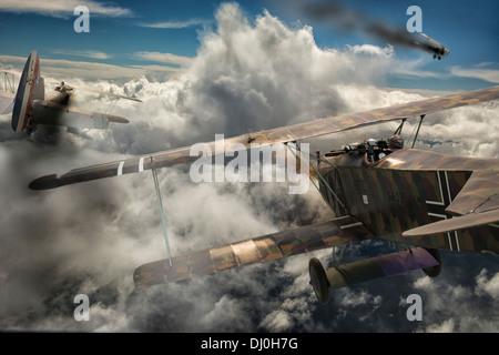 Luftkampf zwischen zwei Flugzeuge des ersten Weltkriegs. Photoshop-Komposition - Stockfoto