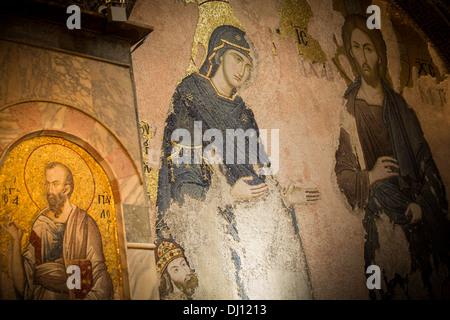 Wandbild / Mosaik im Inneren der Kirche des Heiligen Erlösers in Chora - Istanbul, Türkei. - Stockfoto