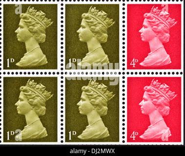 Königin Elizabeth II Briefmarke UK 1D & 4D endgültige Ausgabe von Buch von Briefmarken vom 1969