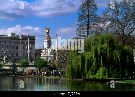 London England St James Park Buckingham Palace Königin Victoria Memorial Trauerweide - Stockfoto