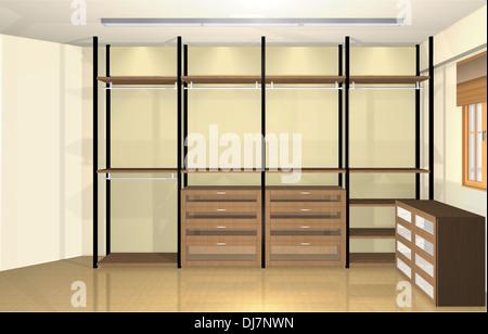 3D Rendering · 3D Inneneinrichtung, Moderne Ankleidezimmer   Stockfoto