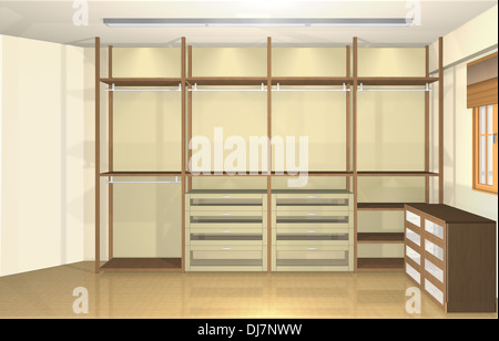 ... 3D Inneneinrichtung, Moderne Ankleidezimmer   Stockfoto