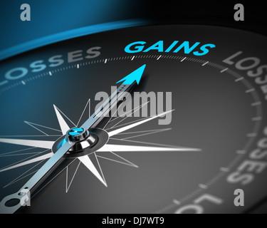 Finanzielle Beratungskonzept. Kompassnadel zeigt das Wort erringt auf schwarzem Hintergrund mit Blur-Effekt - Stockfoto