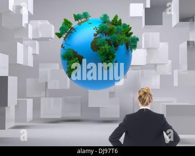Zusammengesetztes Bild der Geschäftsfrau mit Händen auf den Hüften stehen - Stockfoto