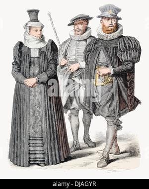 17. Jahrhundert Kostüm von Sergeant und Sergeant Major Schweizer XVII. Frau in Kirche und Trauer Kleid - Stockfoto