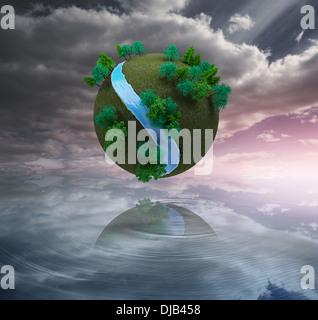 Futuristische Erde in der Luft schweben - Stockfoto