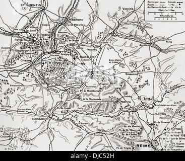 Karte zur Veranschaulichung der Region die erste Schlacht an der Aisne, entlang den Flüssen Aisne, Oise und Somme, - Stockfoto