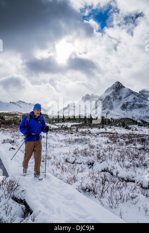 Wanderer im Winter, Mount Assiniboine Provincial Park in British Columbia, Kanada - Stockfoto