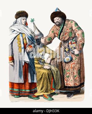 19. Jahrhundert XIX Russland links nach rechts Frau von Tomsk und paar von Kirgisen in traditioneller Tracht - Stockfoto